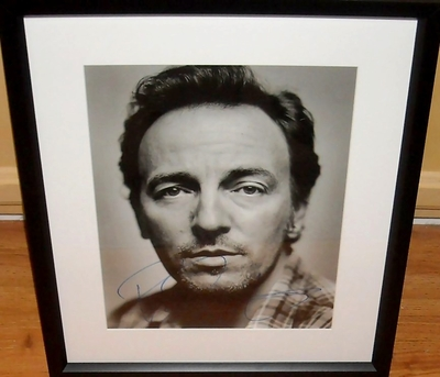 Bruce Springsteen autographed 11x14 black and white portrait photo matted and framed