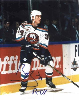 Bryan Berard autographed New York Islanders 8x10 photo inscribed ROY