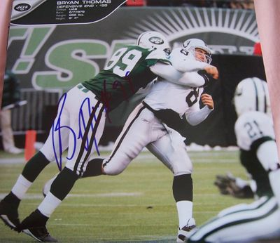 Bryan Thomas autographed New York Jets calendar page