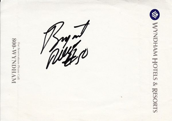 Bryant Reeves autographed hotel memo paper (cut signature)
