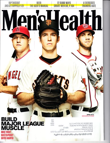 Bryce Harper Buster Posey Mike Trout 2013 Men's Health magazine