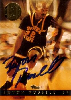 Bryon Russell autographed Long Beach State 1994 Classic Images card