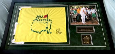 Bubba Watson autographed 2012 Masters golf pin flag matted and framed with 8x10 photo and engraved nameplates