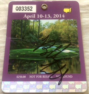 Bubba Watson autographed 2014 Masters badge (creased)