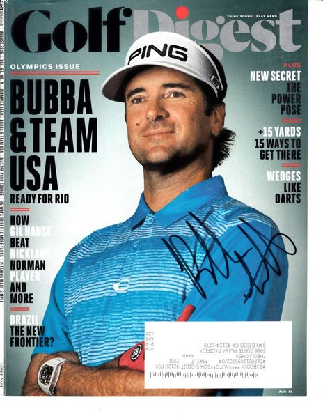 Bubba Watson autographed 2016 Golf Digest magazine cover