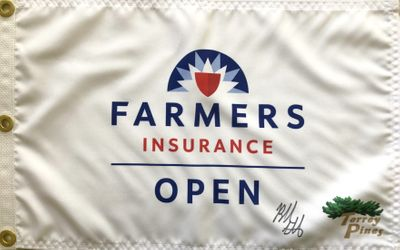 Bubba Watson autographed 2020 Farmers Insurance Open golf pin flag