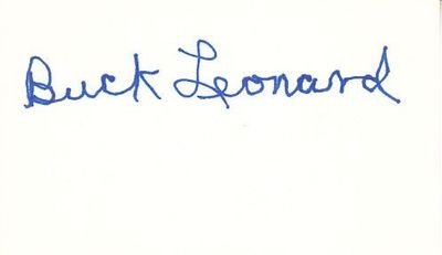 Buck Leonard autographed 3x5 index card