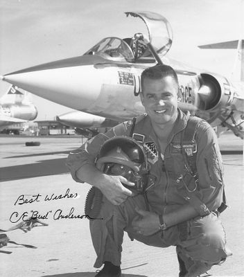 Bud Anderson autographed U.S. Air Force original vintage black & white photo