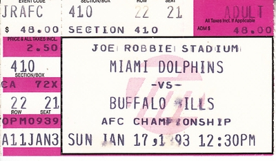 Buffalo Bills at Miami Dolphins 1992 AFC Championship Game ticket stub