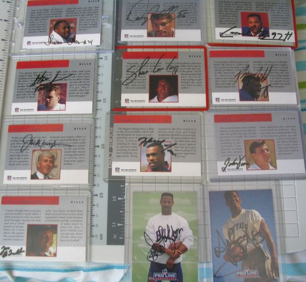 Buffalo Bills certified autographed 1991 and 1992 Pro Line team card set (James Lofton Andre Reed Bruce Smith Thurman Thomas)