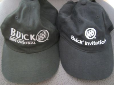 Buick Invitational set of 2 black golf caps or hats
