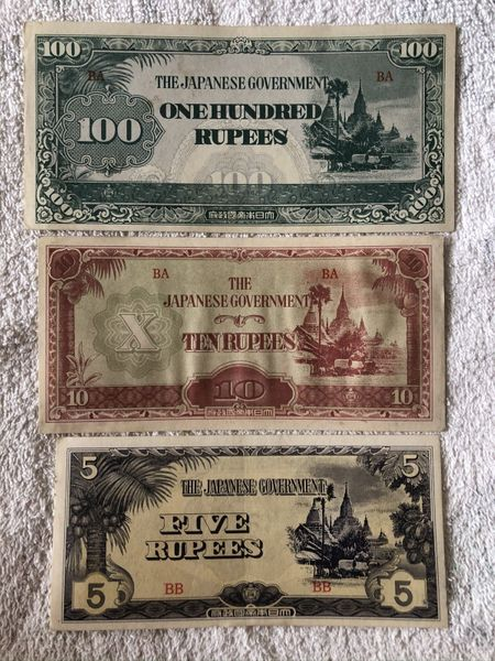 Burma (Myanmar) Japanese Occupation lot of 3 banknotes 5 10 100 rupees About Uncirculated