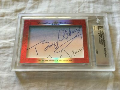 Buzz Aldrin and Edgar Mitchell 2017 Leaf Masterpiece Cut Signature certified autograph card 1/1 JSA Apollo 11