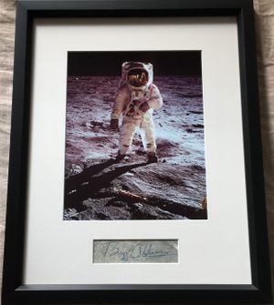 Buzz Aldrin autograph matted and framed with Apollo 11 8x10 photo