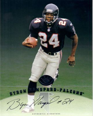 Byron Hanspard certified autograph Atlanta Falcons 1997 Leaf 8x10 photo card