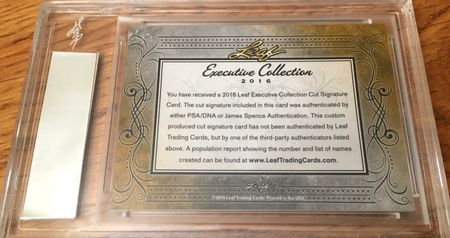 Byron Nelson 2016 Leaf Masterpiece Cut Signature certified autograph card 1/1 JSA