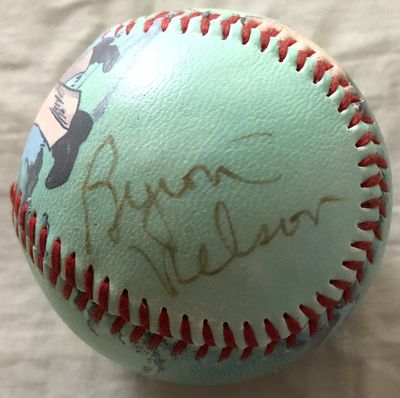Byron Nelson autographed Unforgettaballs vintage golf artwork collectible baseball (JSA)