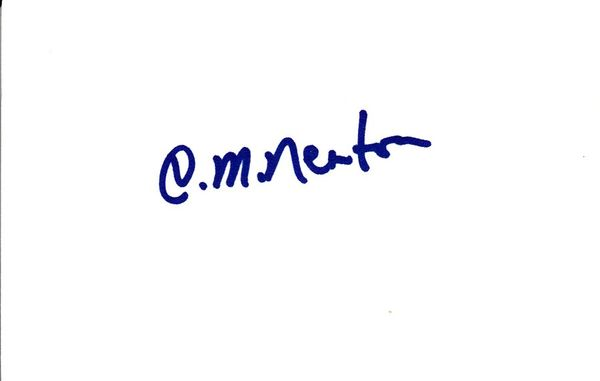 C.M. Newton autographed index card