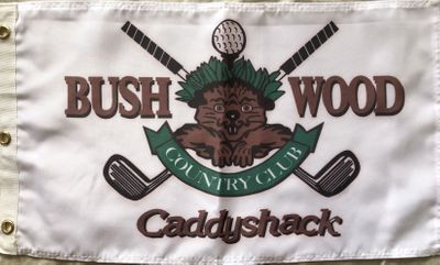 Caddyshack Bushwood Country Club Gopher logo golf pin flag (soft fabric with light tinge)
