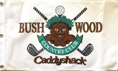 Caddyshack Bushwood Country Club Gopher logo golf pin flag (stiff fabric)