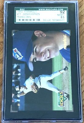 Cal Ripken Baltimore Orioles 1992 Pinnacle Rookie Idols insert card graded SGC 92 (BGS or PSA 8.5)
