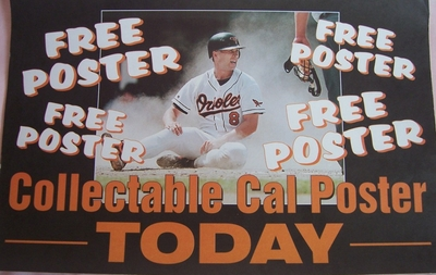 Cal Ripken 1995 Washington Times Collectible Cal Poster Today promotional sign