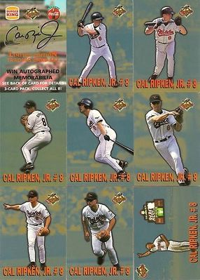 Cal Ripken 1997 Burger King Coke limited edition 8 baseball card set