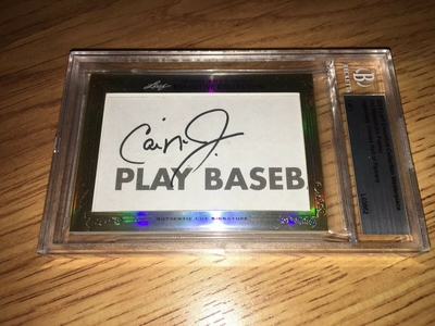 Cal Ripken and Jim Palmer 2013 Leaf Masterpiece Cut Signature certified autograph card 1/1 Orioles JSA