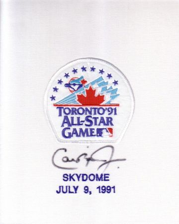 Cal Ripken autographed 1991 All-Star Game jersey patch framed with ticket stub and Upper Deck card