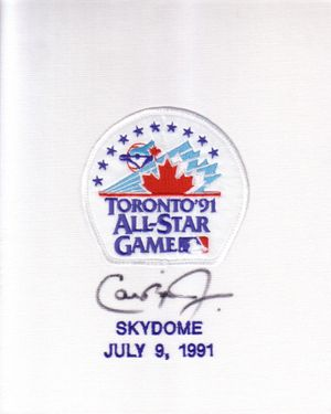 Cal Ripken autographed 1991 All-Star Game jersey sleeve patch