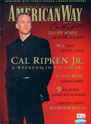 Cal Ripken autographed 1999 American Way magazine (Ironclad Authentics)