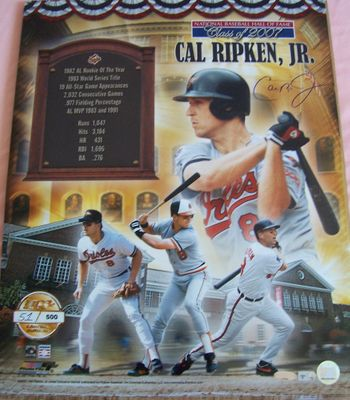 Cal Ripken autographed Baltimore Orioles 16x20 Hall of Fame poster size photo (MLB authenticated)