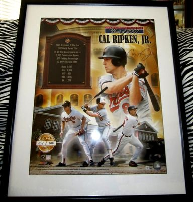 Cal Ripken autographed Baltimore Orioles 16x20 poster size Hall of Fame photo matted and framed (Ironclad)