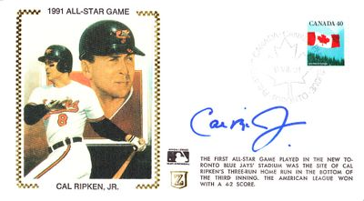 Cal Ripken autographed Baltimore Orioles 1991 All-Star Game cachet envelope