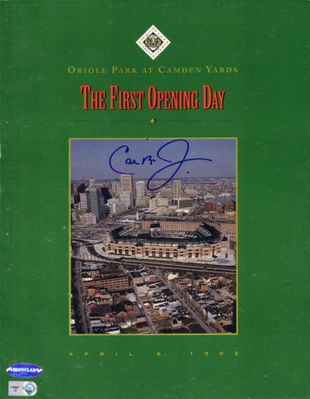 Cal Ripken autographed Baltimore Orioles 1992 Camden Yards First Opening Day program (Ironclad Authentics)