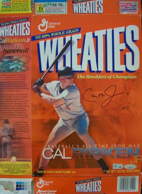Cal Ripken autographed Baltimore Orioles 2001 Iron Man Wheaties box (Ironclad Authentics)