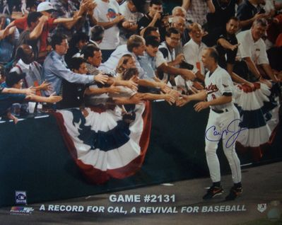 Cal Ripken autographed Baltimore Orioles Consecutive Game 2131 16x20 poster size photo (Ironclad Authentics)