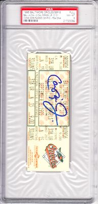 Cal Ripken autographed Orioles 1995 Consecutive Game 2131 full ticket graded PSA 8 (PSA/DNA authenticated and slabbed)