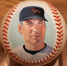 Cal Ripken autographed Consecutive Games 2130/2131 baseball painted by Jolene Jessie