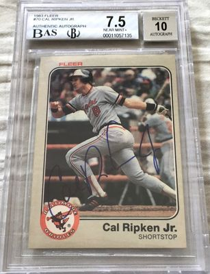 Cal Ripken autographed Baltimore Orioles 1983 Fleer card BAS authenticated BGS graded 7.5