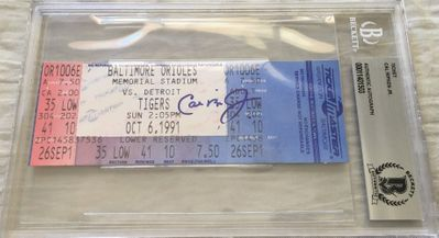 Cal Ripken autographed Baltimore Orioles 1991 Memorial Stadium last game full ticket (BAS authenticated and slabbed)