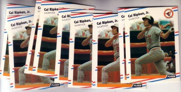 Cal Ripken Baltimore Orioles 1988 Fleer cards (lot of 12)