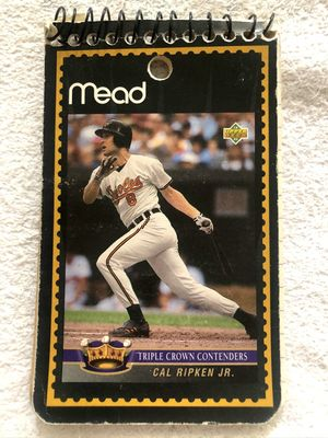 Cal Ripken Baltimore Orioles 1993 Upper Deck Triple Crown Contenders card Mead notepad