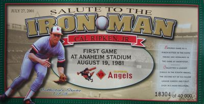 Cal Ripken Baltimore Orioles 2001 Angels Salute to the Iron Man 4x8 card