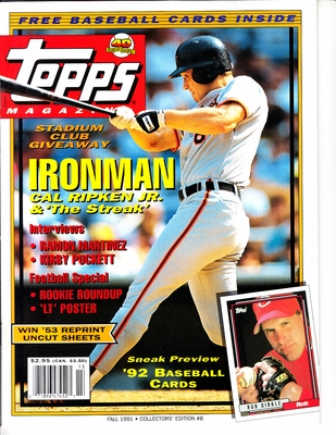 Cal Ripken Baltimore Orioles Fall 1991 Topps magazine issue #8