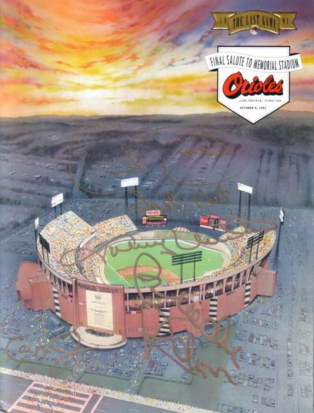 Cal Ripken Brooks Robinson Johnny Unitas Cecil Fielder autographed Baltimore Orioles Memorial Stadium 1991 Last Game program