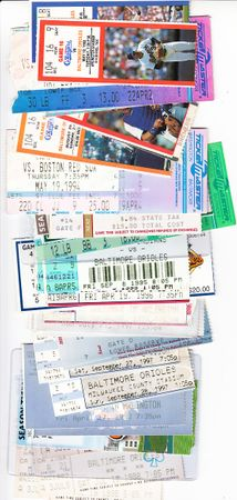 Cal Ripken Consecutive Games streak lot of 68 different 1987 to 1998 Baltimore Orioles tickets