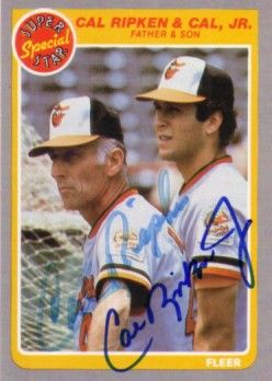 Cal Ripken Jr. & Sr. autographed Baltimore Orioles 1985 Fleer Father & Son card