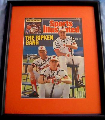 Cal Ripken Jr. and Sr. Billy Ripken autographed Ripken Gang 1987 Sports Illustrated cover matted and framed