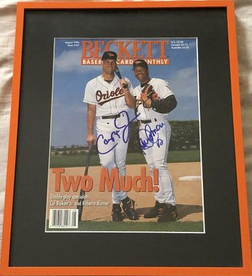Cal Ripken and Roberto Alomar autographed Baltimore Orioles 1996 Beckett Baseball magazine cover matted and framed